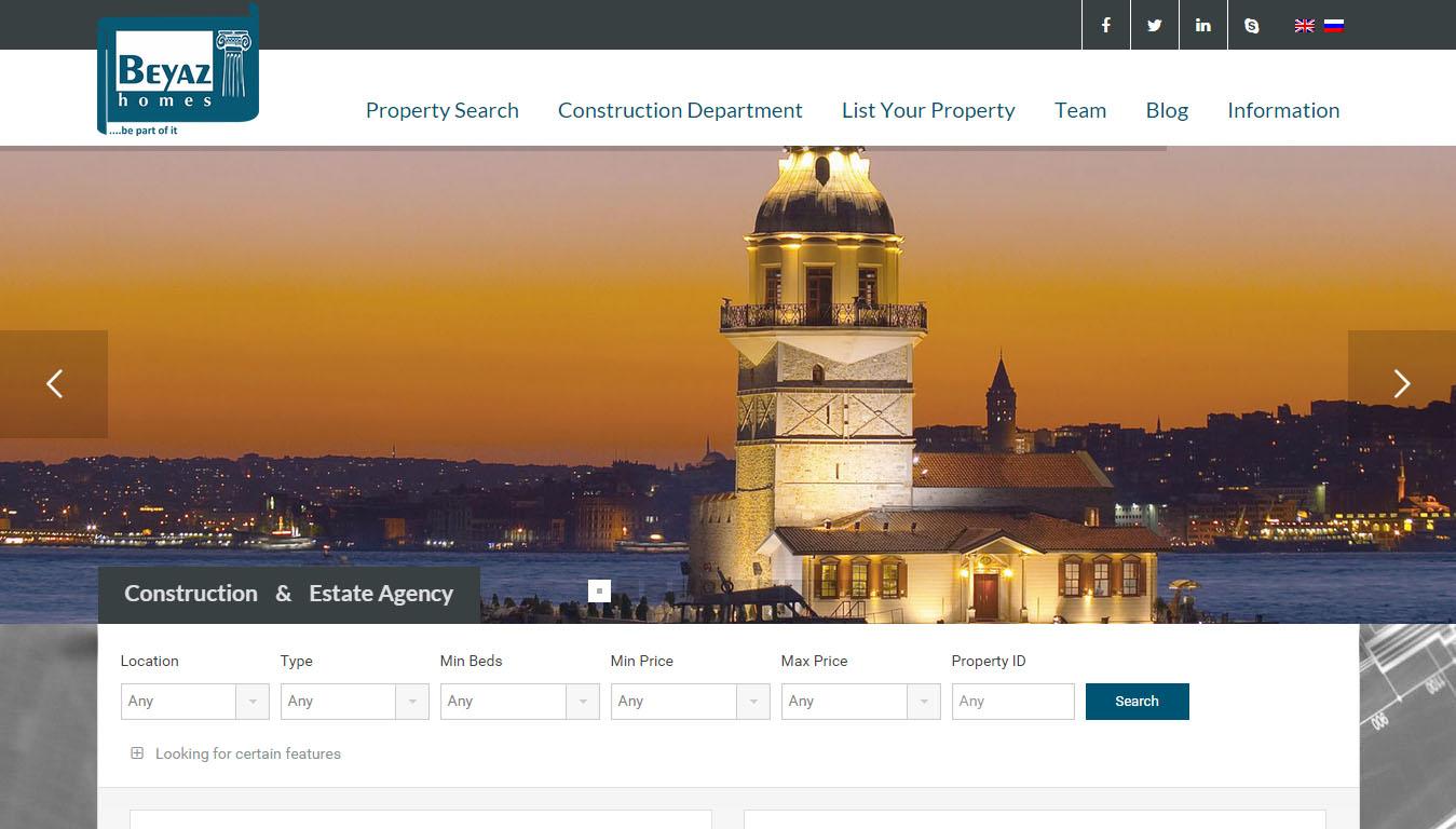 Fethiye Beyaz Homes Emlakçı web sitesi tasarımı ve yazılımı