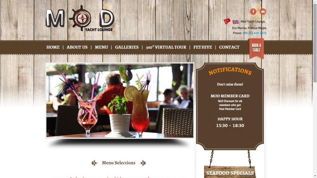 Cafe Mod Fethiye Ece Marina web sitesi tasarımı Muğla