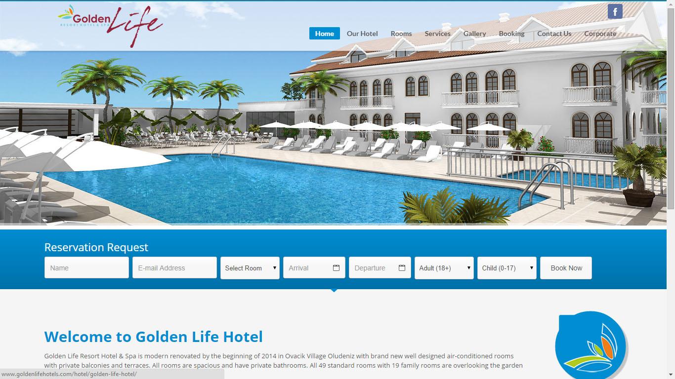 Fethiye Golden Life Hotels web sitesi tasarımı
