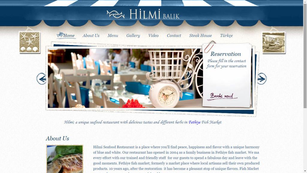 Hilmi Balık Restoranı web sitesi tasarımı Fethiye balık pazarı Muğla