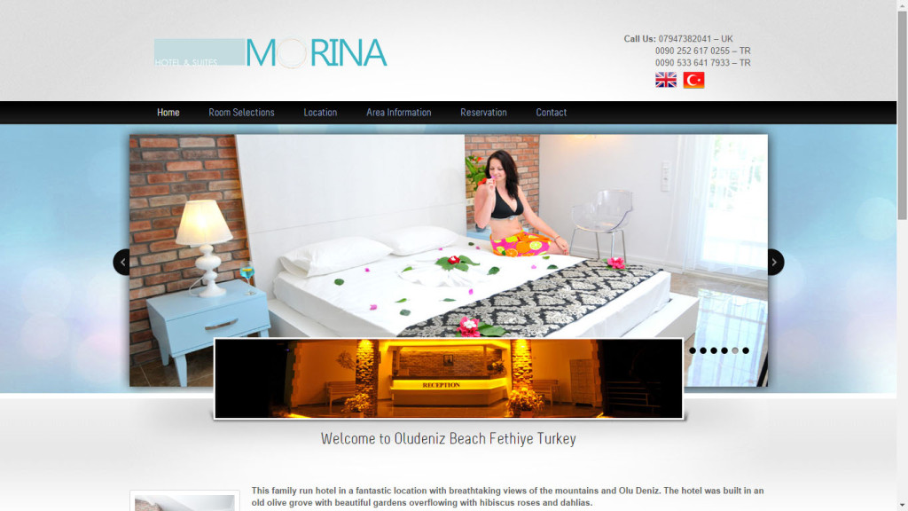 Tan Ajans Fethiye Muğla Morina Hotel web sitesi tasarımı