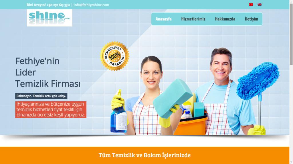 Tan Ajans Fethiye Shine Group temizlik firması web sitesi tasarımı