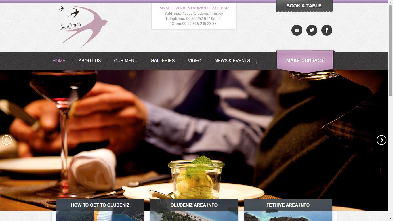 Tan Ajans Fethiye Muğla web tasarım Swallows Restoran Ölüdeniz web sitesi tasarımı