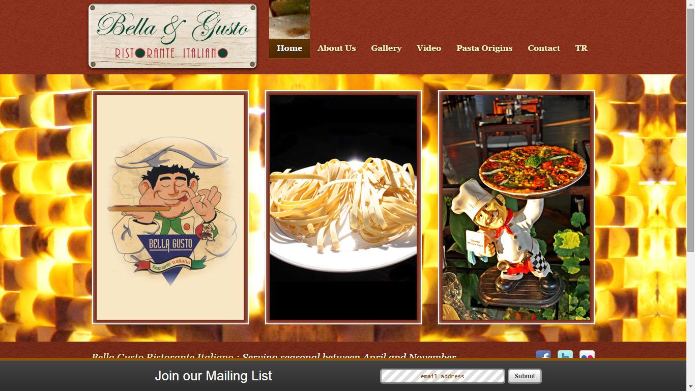 bella gusto restaurant Fethiye web sitesi tasarımı