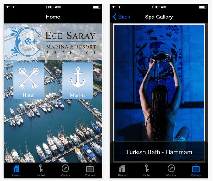 Ece Saray Marina & Resort ios ve android uygulama geliştirme ve tasarımı Fethiye Muğla