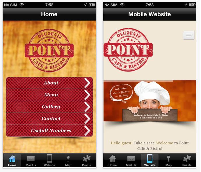 Point Cafe ios ve android uygulama tasarımı Fethiye Muğla