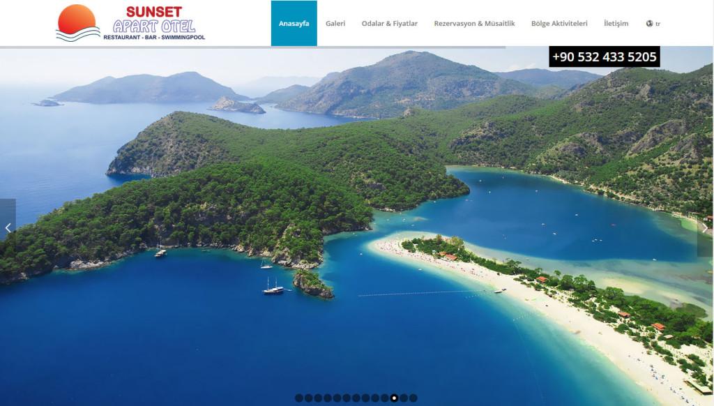 Sunset Apart Otel Ovacık Fethiye web sitesi tasarımı