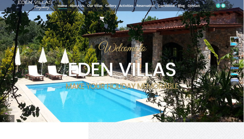 eden villas kayakoy holiday accomodation website