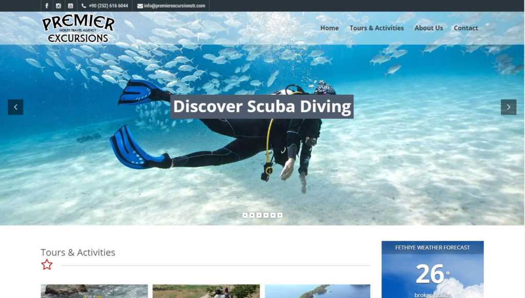 Premier Excursions tur acentası web sitesi