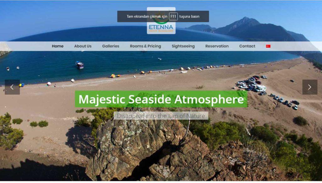 etenna beach bungalows çıralı yanartaş konaklama web sitesi tasarımı